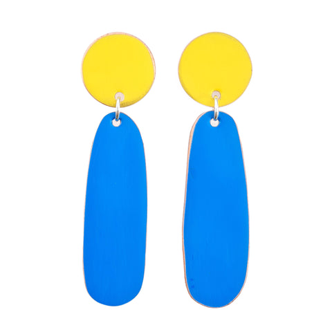 Love Fool Teardrop Earrings Yellow/Blue