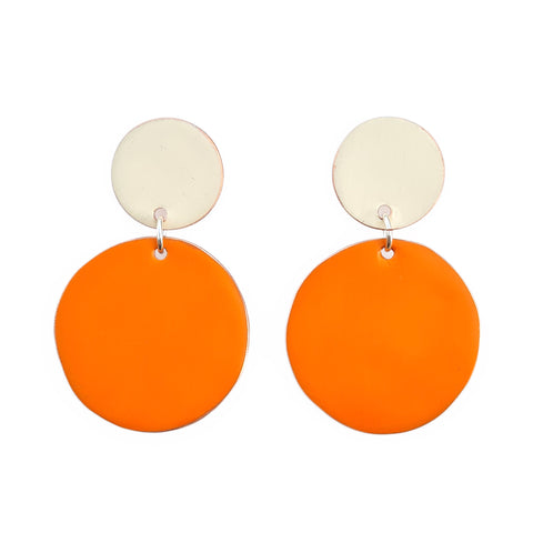 Love Fool Polka Dot Earrings Orange/Ivory