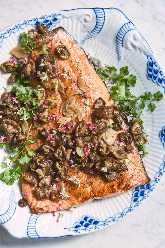 Seared Coho Salmon with Shaved Garlic & Wild Mushrooms