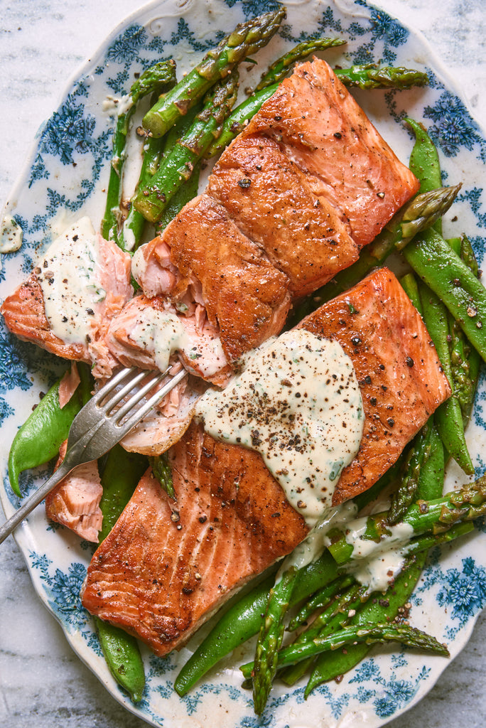 Wild Salmon, Scarlet Runner Beans and Asparagus with Tarragon Dijon Mayo