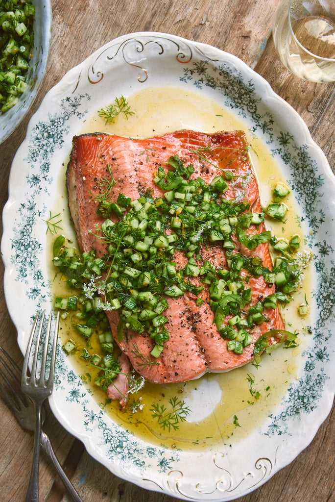 Cucumber & Garlic Scape Salsa-Dressed Pan Roasted Salmon