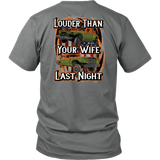 louder than your wife wagon logo