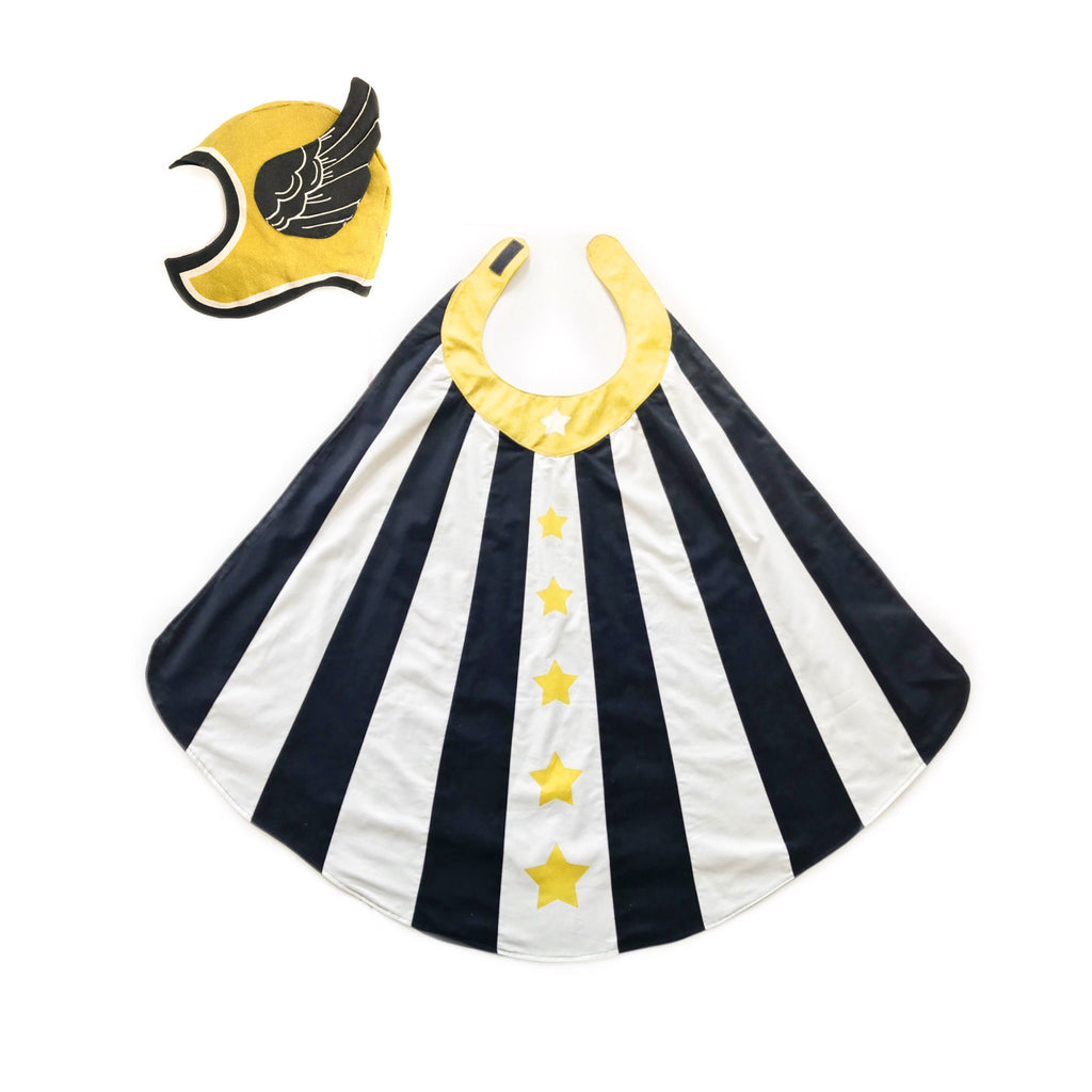 Adult Super Hero Cape and Hat Set, Gold and Black Stars and Stripes, perfect for Father's Day!