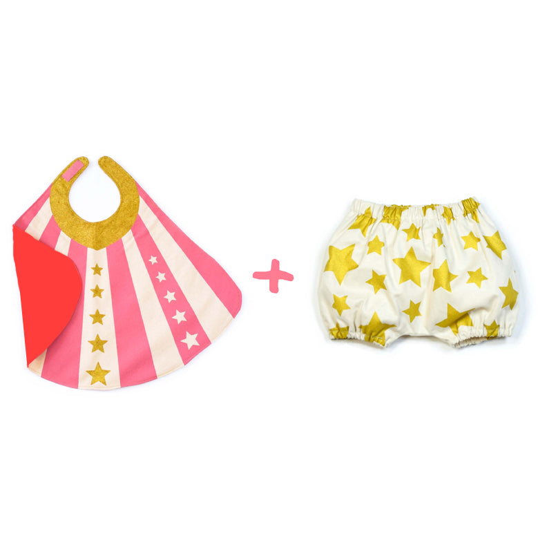 Pink Baby Hero Cape + Bloomer Set