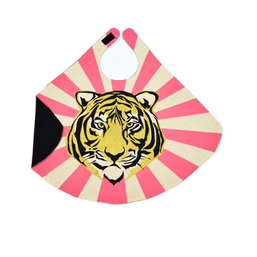 Pink baby tiger cape costume, in pink and orange, for dress up, playwear by lovelane designs