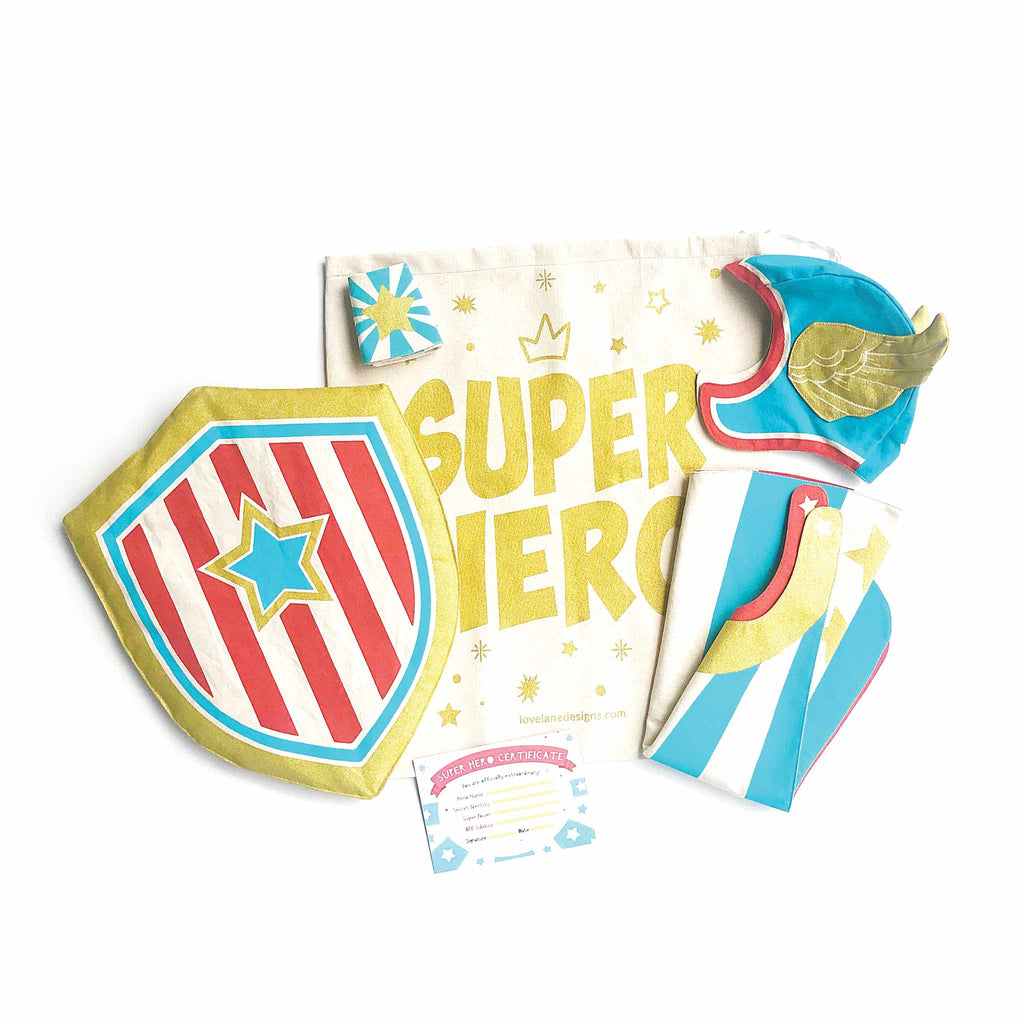 Blue Hero Gift Set, Cape, Hat, Cuffs, Shield, Superhero Gift Bag