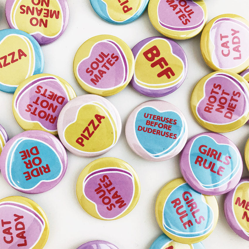 Conversation Heart Buttons -  Set of 5