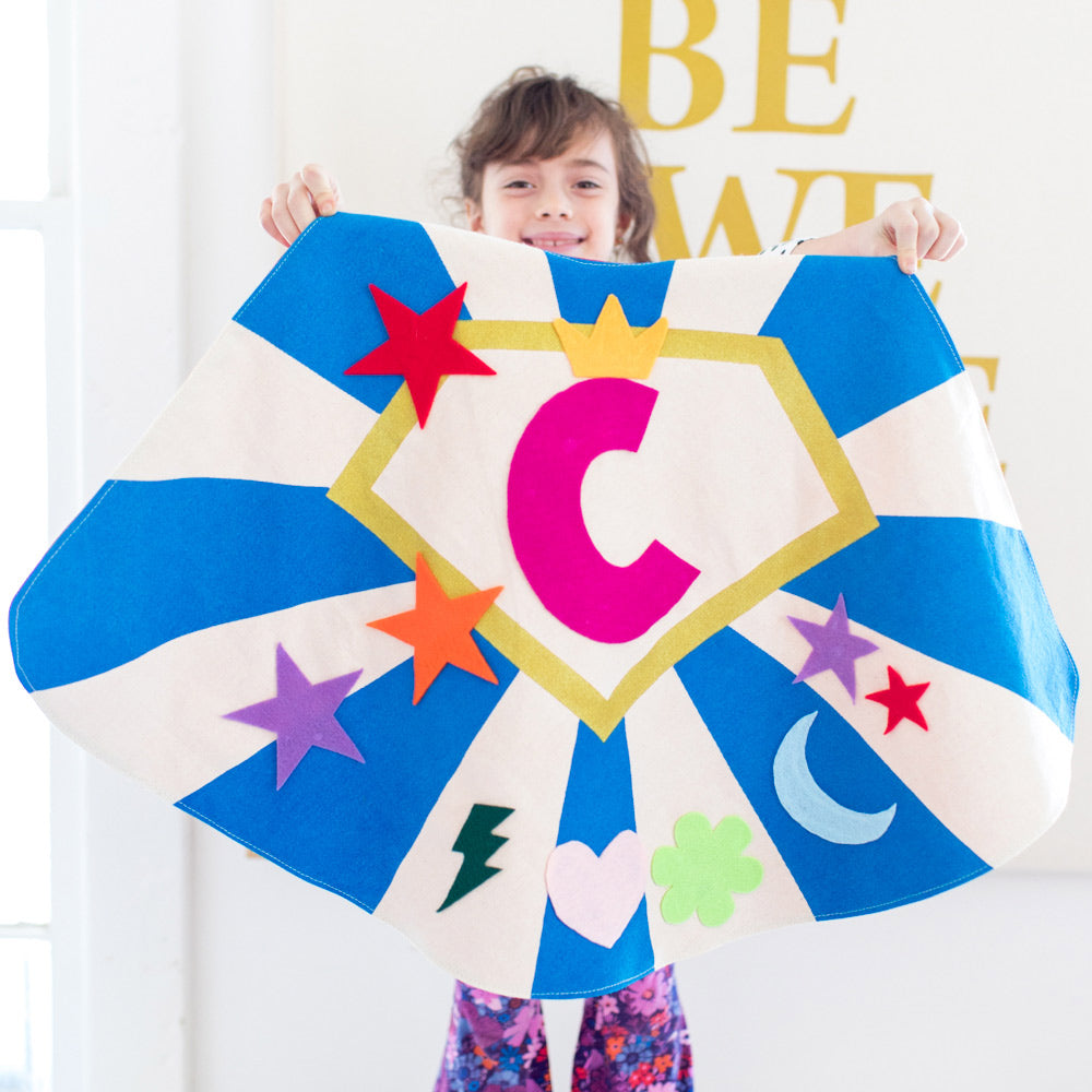 Create a Cape costume kit set, includes felt shapes and initial, choose color,  for dress up, playwear by lovelane designs
