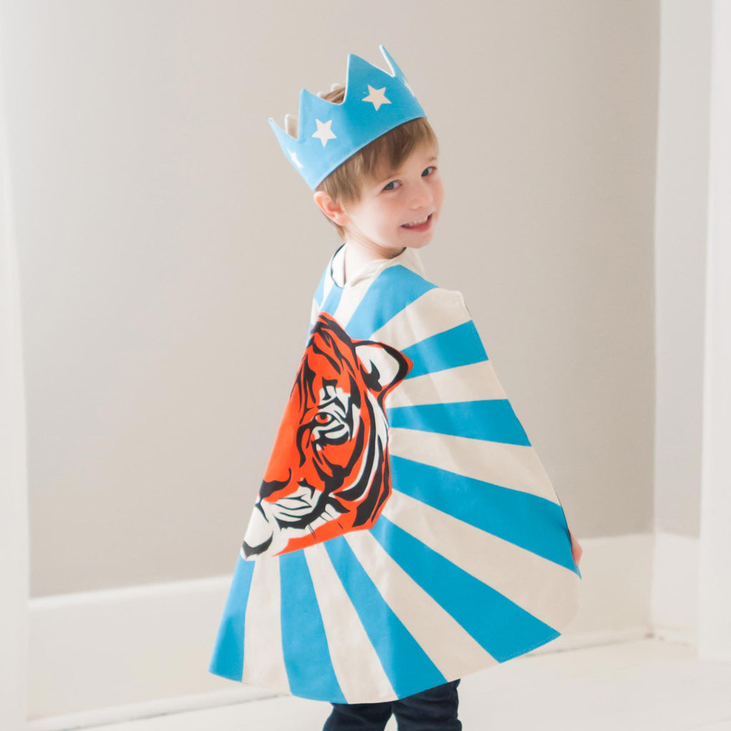 child wearing superhero cape crown tiger motif blue orange lovelane designs