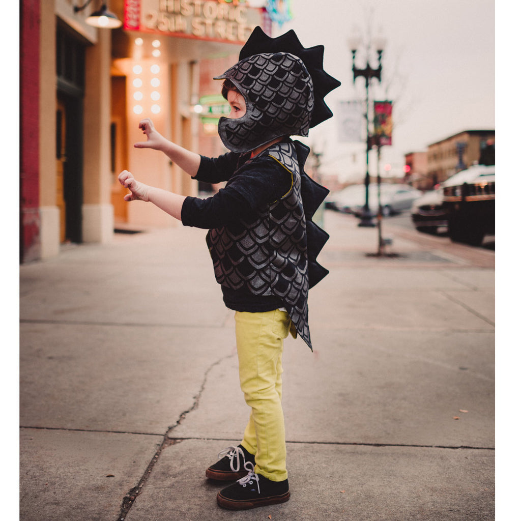 Dapper monster costume in black graphite and pickle, spiked hat and vest with tails, for dress up, playwear by lovelane designs