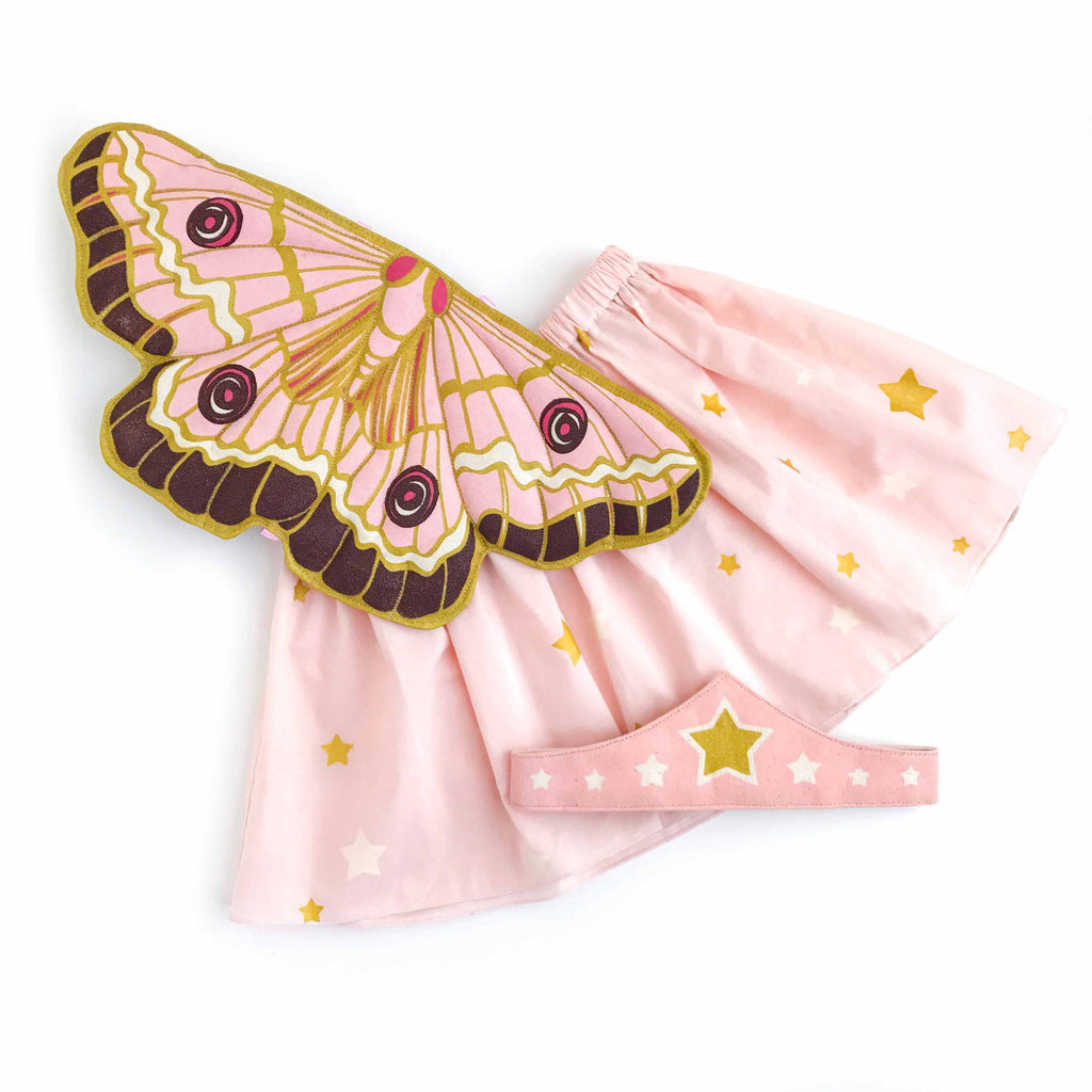Pink butterfly wings fairytale costume set for child with skirt and tiara for dress up, playwear by lovelane design