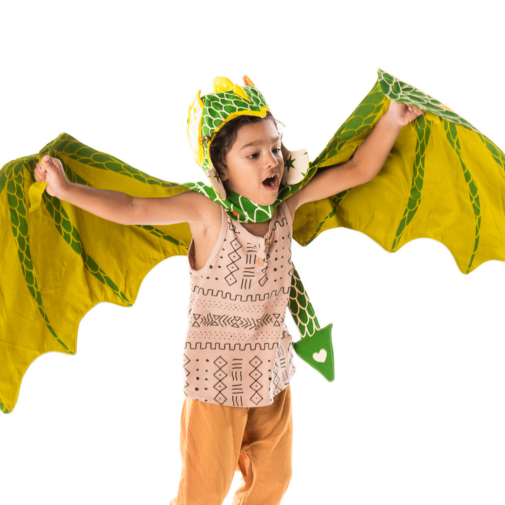 Green dragon wings and hat costume set, for fairytale dress up, playwear by lovelane designs