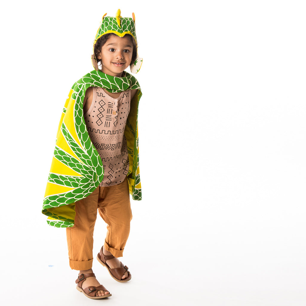 Green dragon hat costume, with pickle ears and spine, for fairytale dress up, playwear by lovelane designs