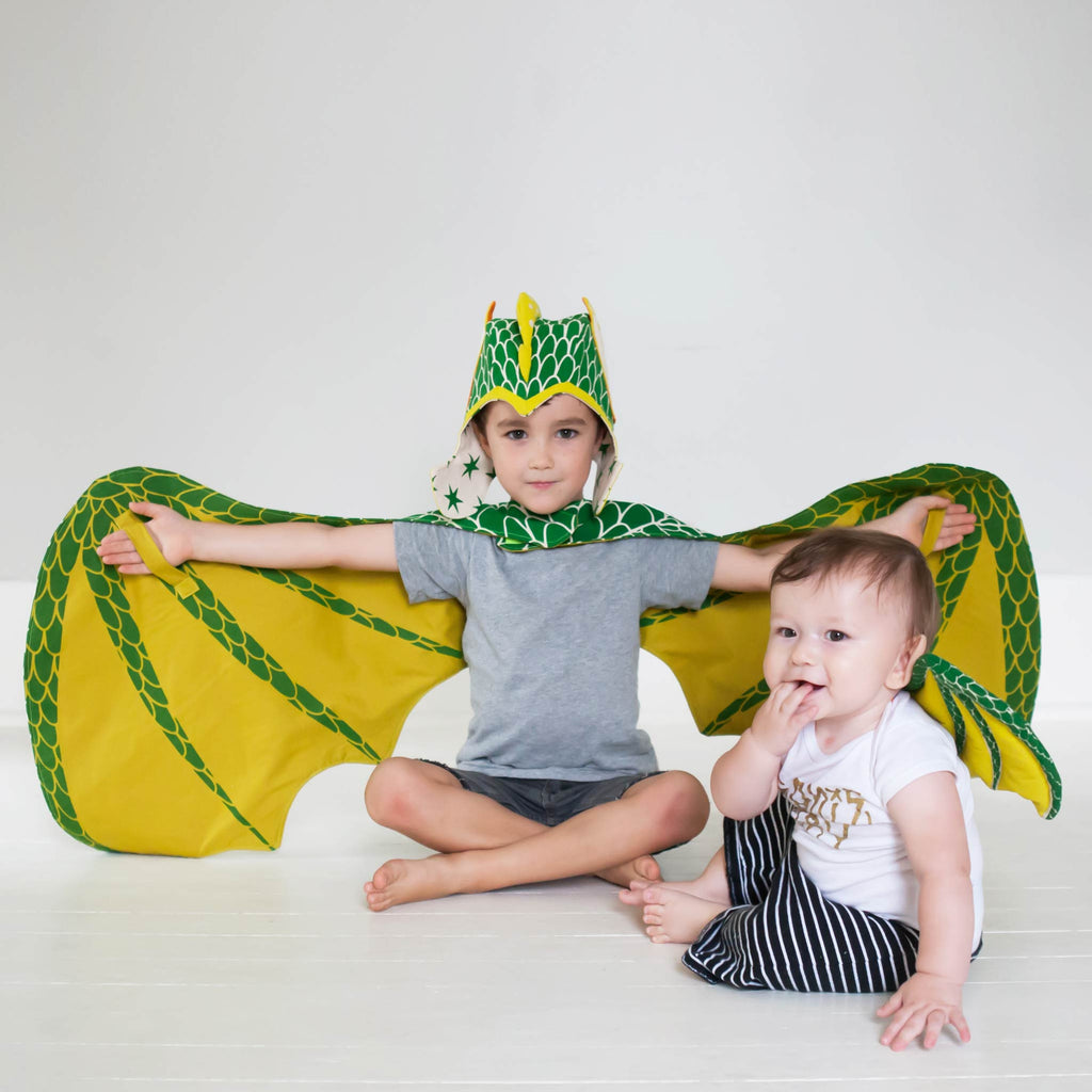 Green dragon wings costume, with velcro and hand straps, for fairytale dress up, playwear by lovelane designs