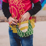 Dragon fanny pack, belt bag, in green and pickle, gift for kids, for dress up, playwear by lovelane designs