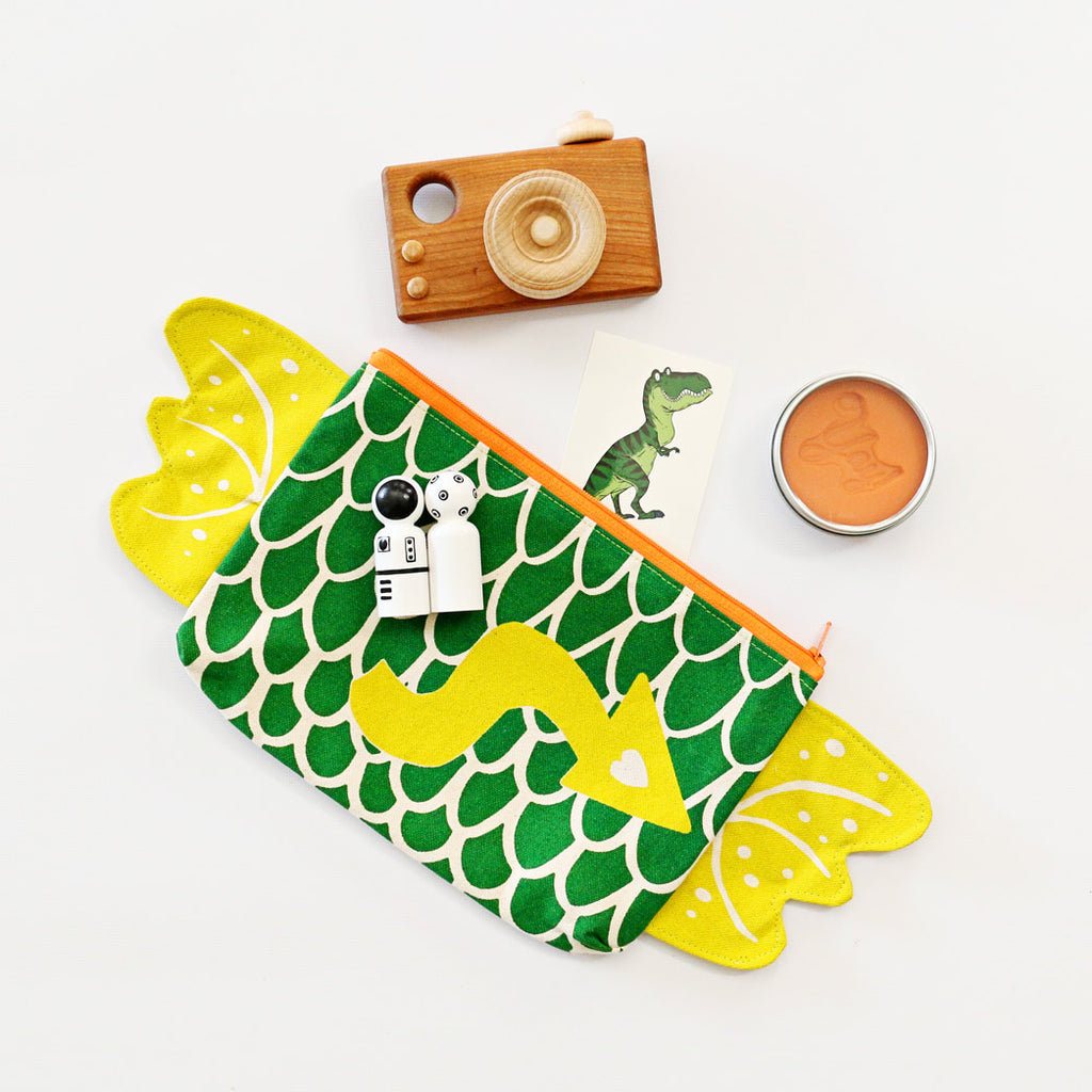 Dragon Zipper Pouch + Pencil Case in Green