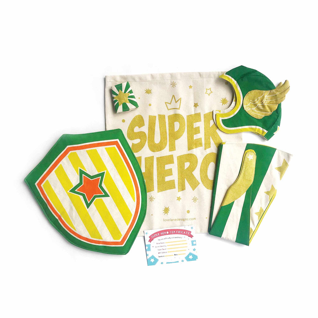 Green Hero Gift Set, Cape, Hat, Cuffs, Shield, Superhero Gift Bag