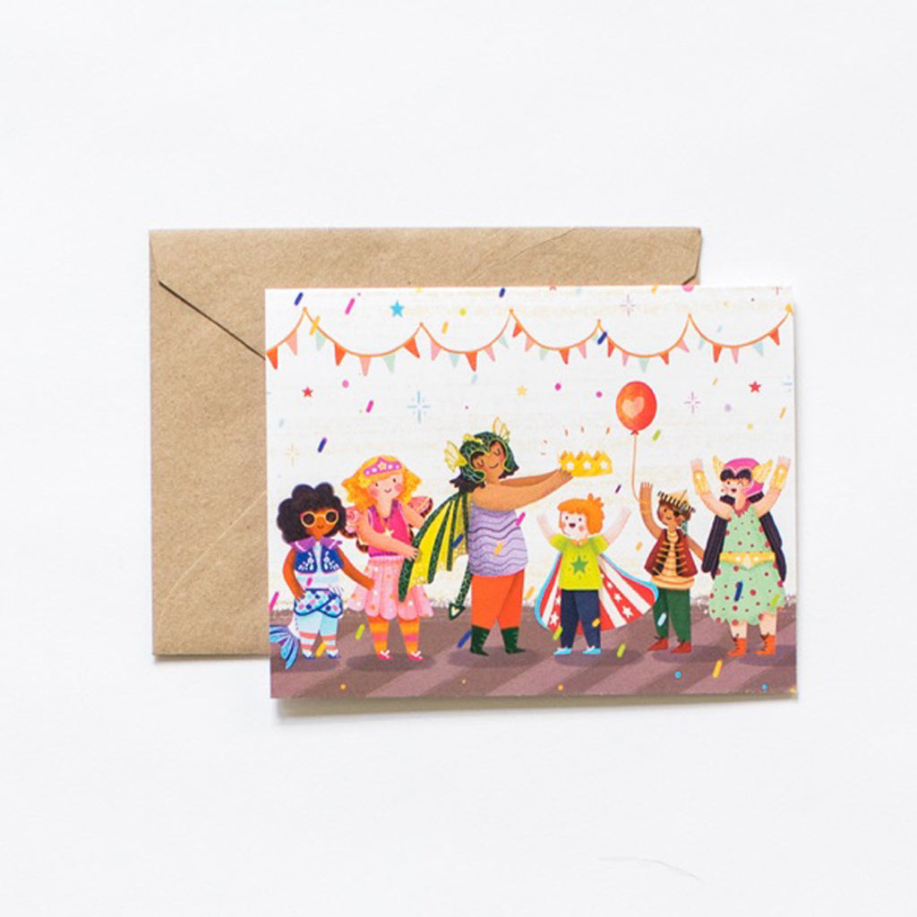 greeting card child birthday birth celebration costume illustration with kraft envelope