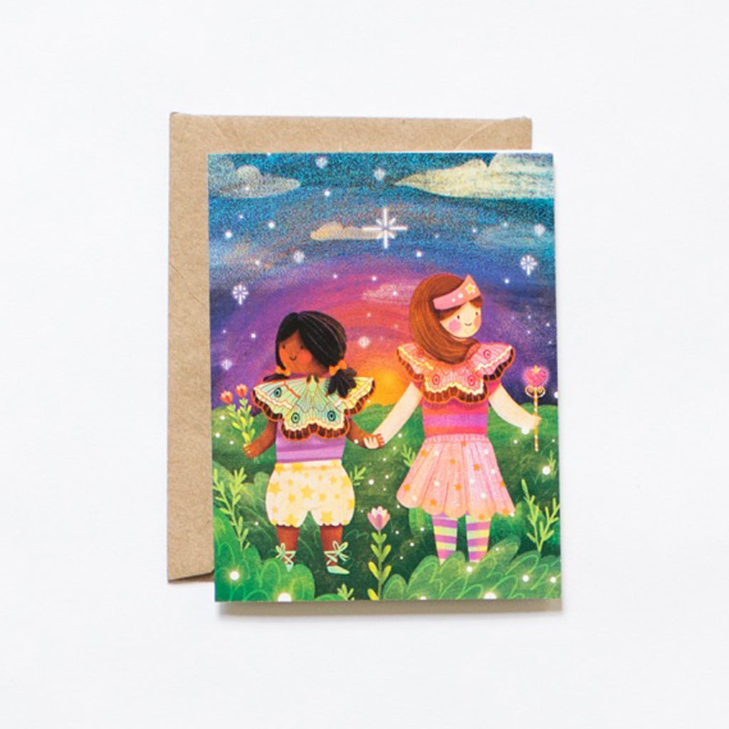 Greeting card with butterfly fairies friends illustration, with craft envelope by Lovelane designs