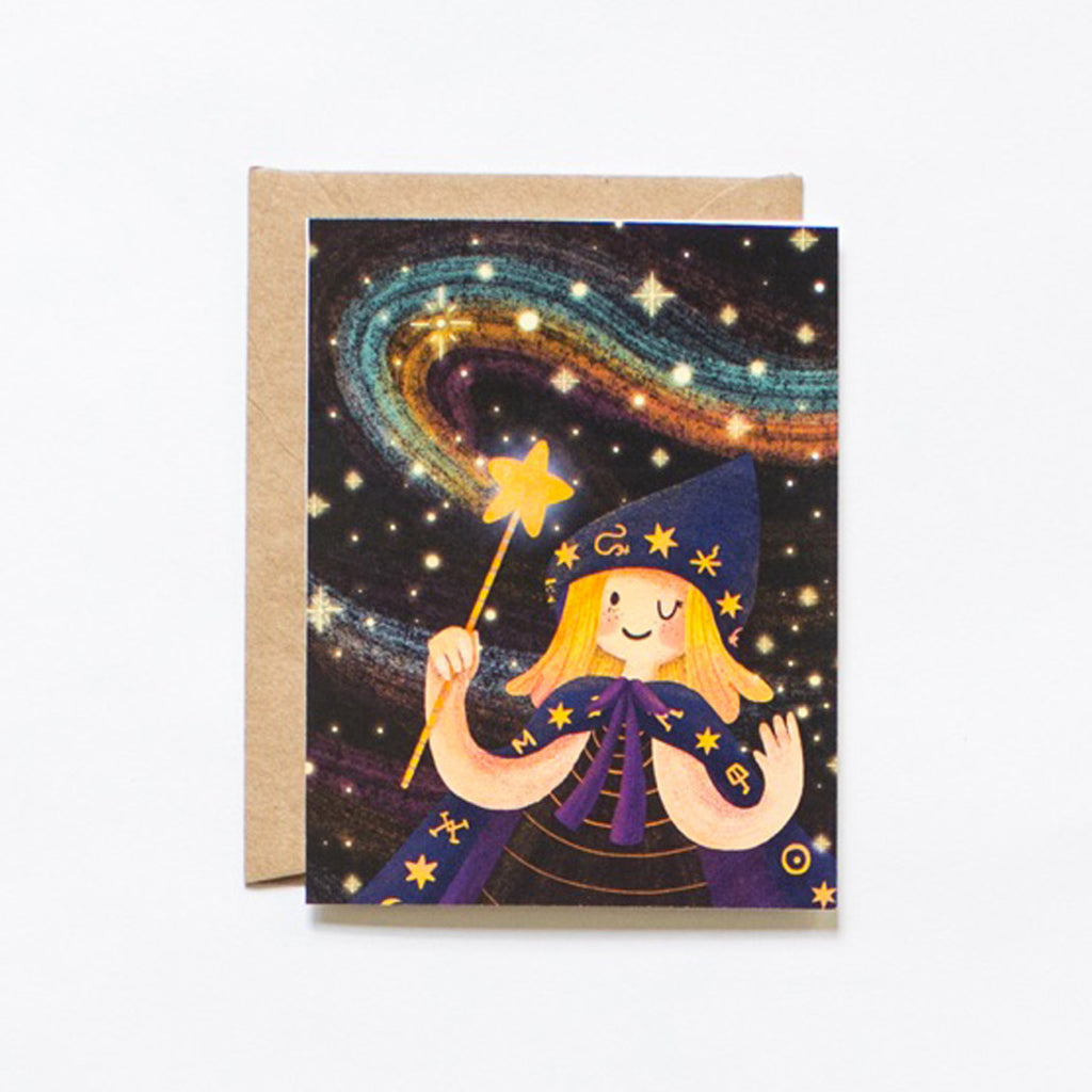 Greeting card with wizard magic girl illustration, with craft envelope by Lovelane designs