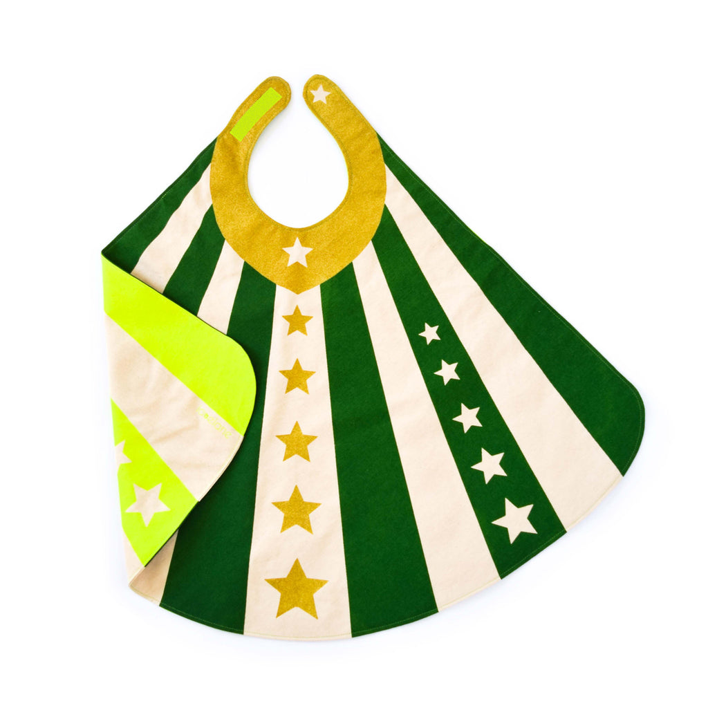 Green super hero cape costume with velcro, stripes and stars, for dress up, playwear by lovelane designs