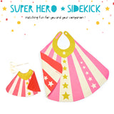 Super hero cape costume set with sidekick cape, doll cape, stripes and stars, for dress up, playwear by lovelane designs