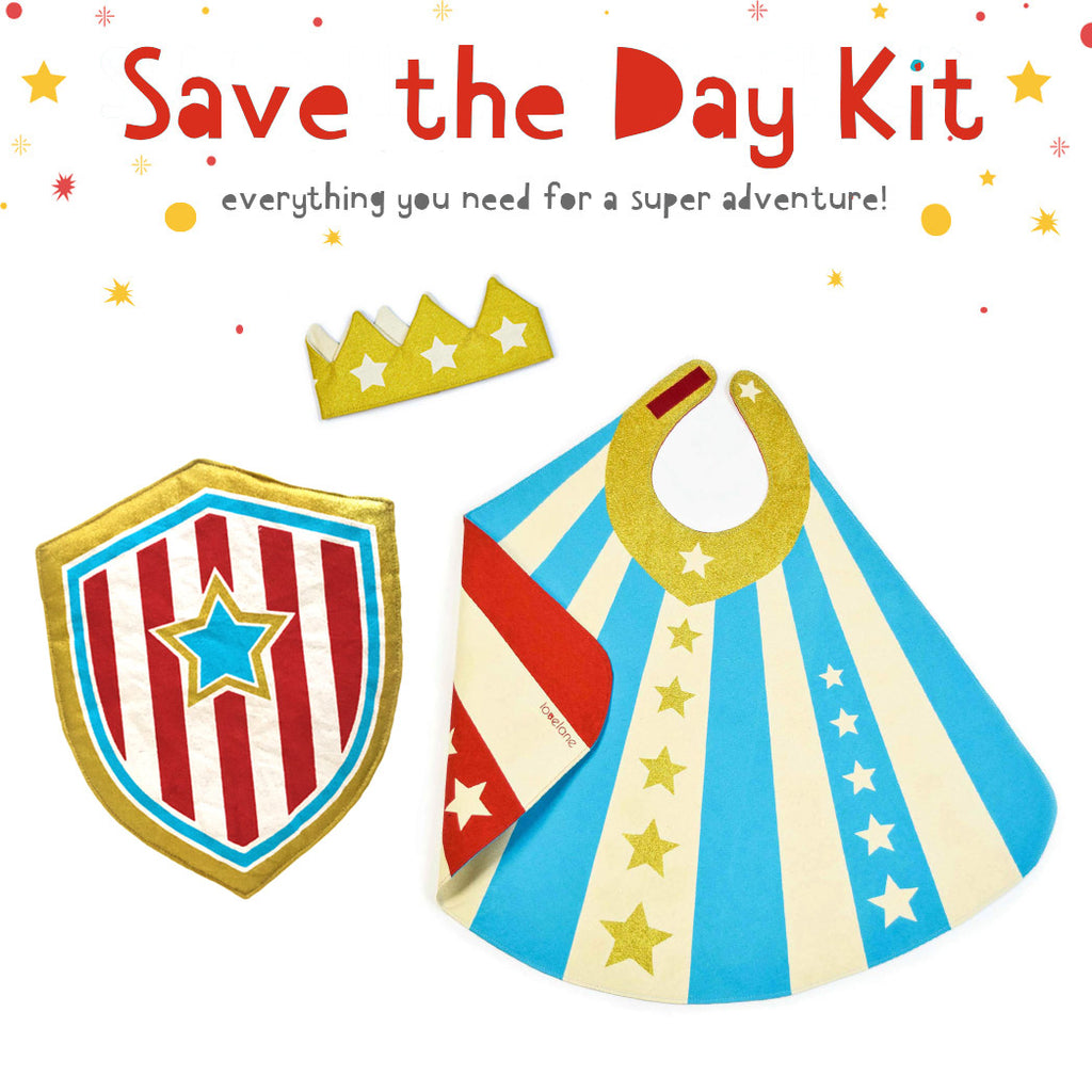 Save the Day Kit: Crown, Shield and reversible Hero Cape Blue