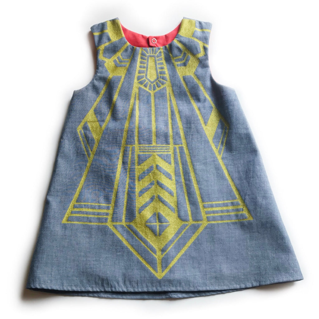 Copy of Flapper Dress in Grey Chambray & Gold with Red Lining SIZE 3/5T OOAK