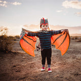 Lava dragon wings costume in shimmer black and red, for fairytale dress up, playwear by lovelane designs
