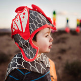 Lava dragon hat costume in shimmer black and red, for fairytale dress up, playwear by lovelane designs