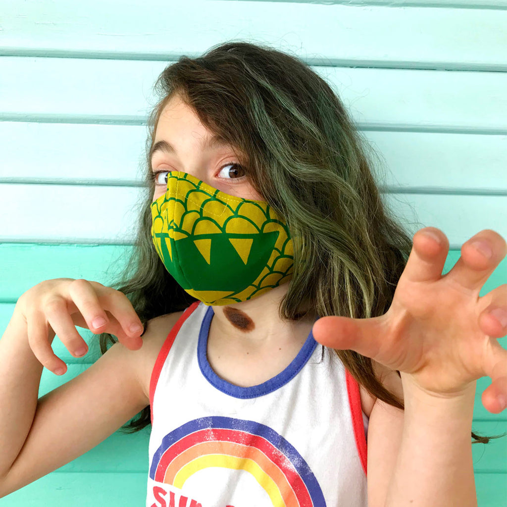 Child, Teen, + Adult Green Dragon Fabric Face Mask