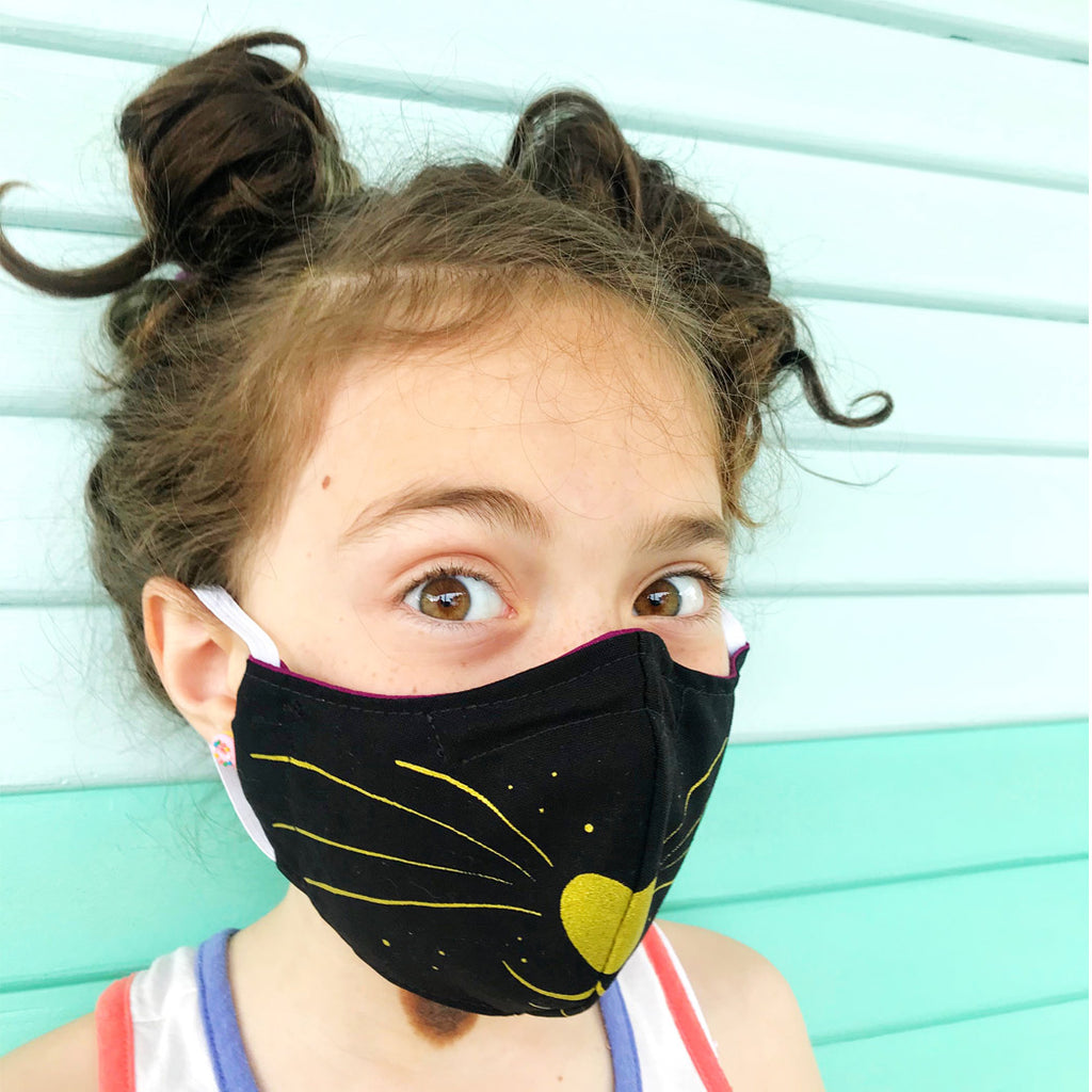 Child's Black Kitty Face Mask