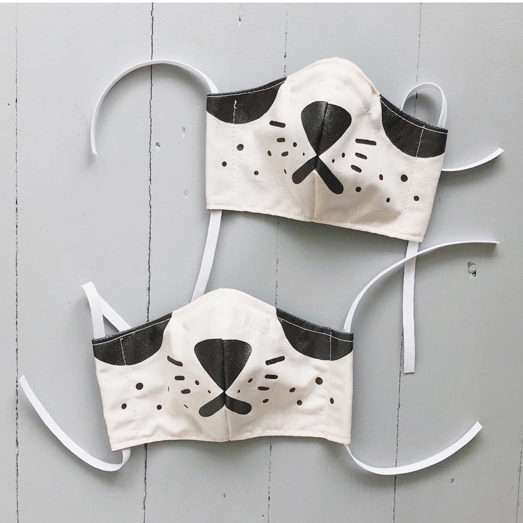 Child's Panda Fabric Face Mask with Shimmery Black ink