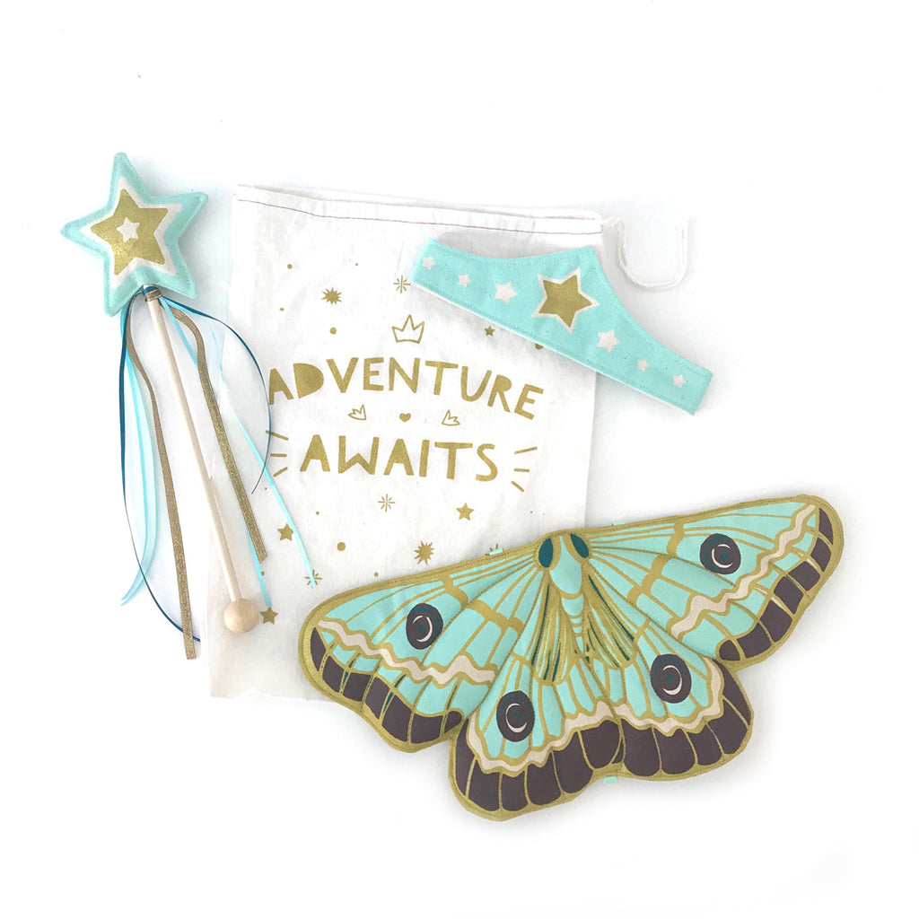 Mint Butterfly Fairy Gift Set, Wings, Wand, Tiara + Reusable Printed Bag