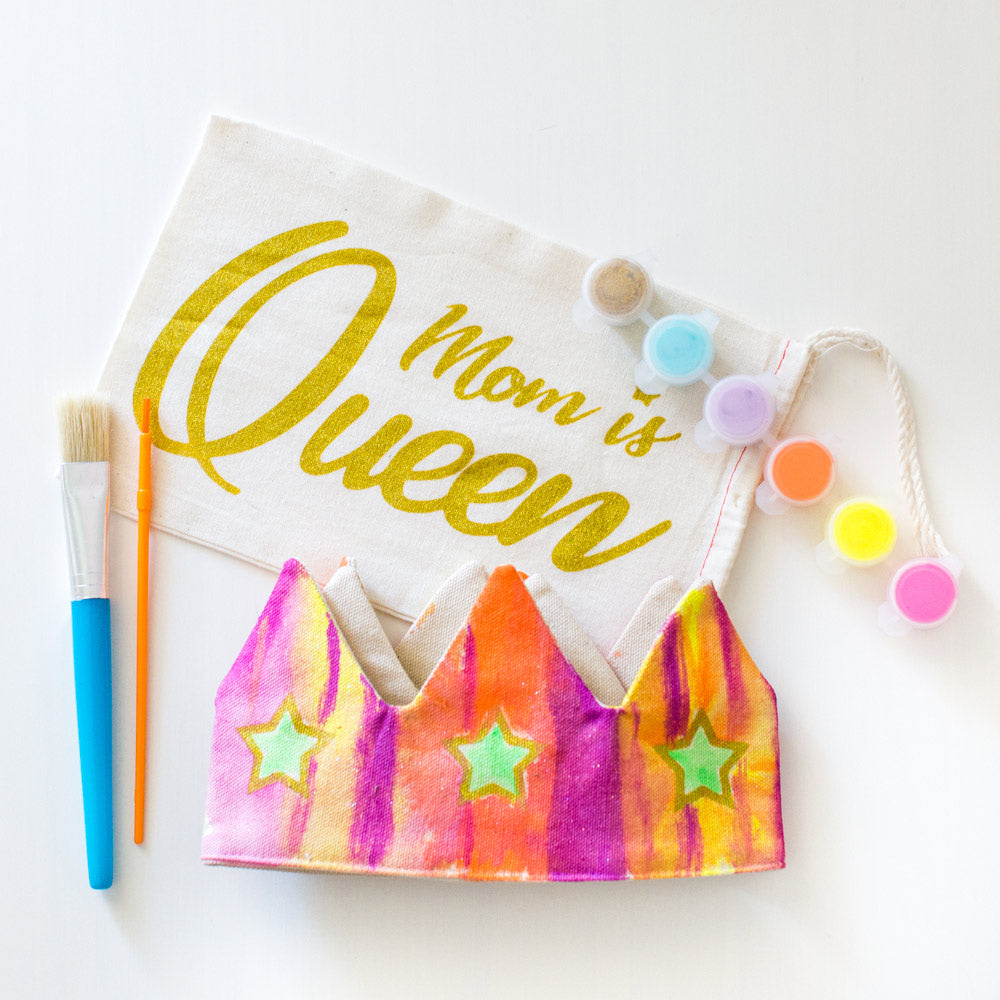 Paint your own crown, mom is queen, mothers day gift, adjustable velcro, by lovelane designs