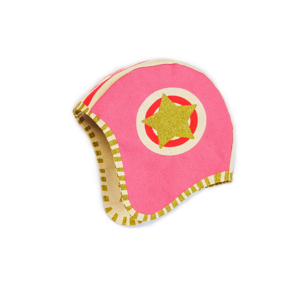 Pink moto hat, helmet costume, for dress up, playwear by lovelane designs