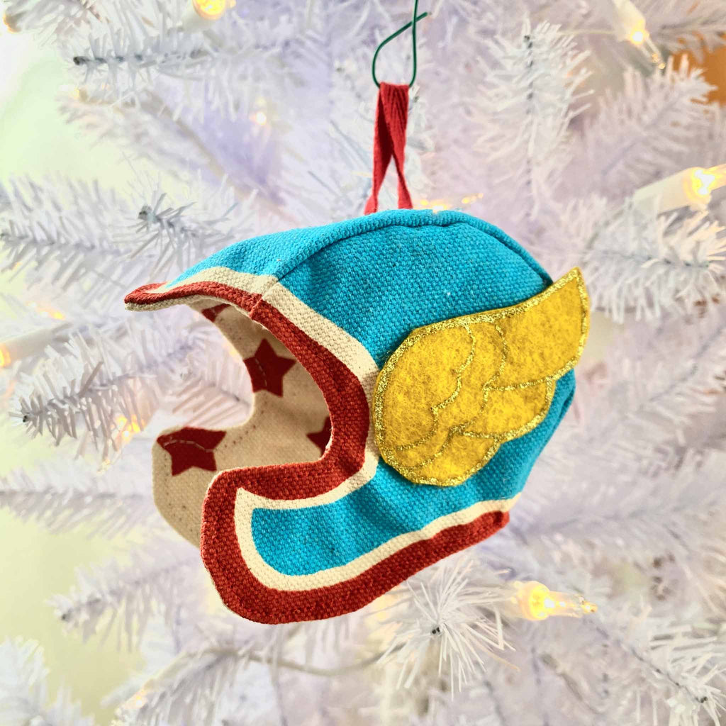 Blue Superhero Hat Holiday Ornament