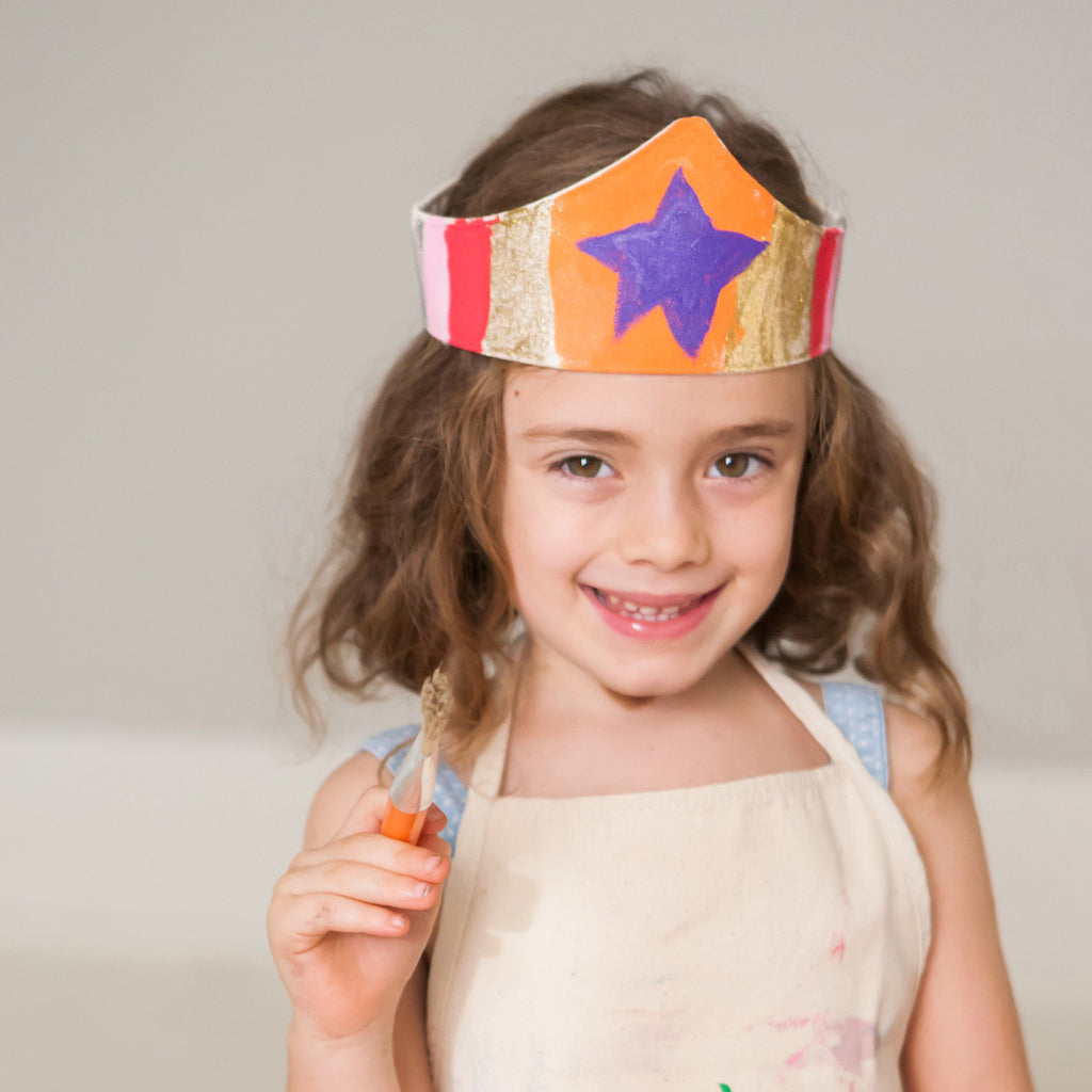 Paint your own Cuffs costume kit, with gold star and adjustible velcro, with paint and brush, for dress up, playwear by lovelane designs