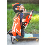Phoenix knight costume set, in black and red, with feathered cape, hat, and shield, for dress up, playwear by lovelane designs