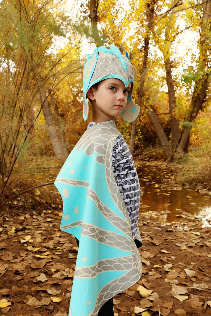 Ice dragon wings costume set with hat in silver and blue, for fairytale dress up, playwear by lovelane designs