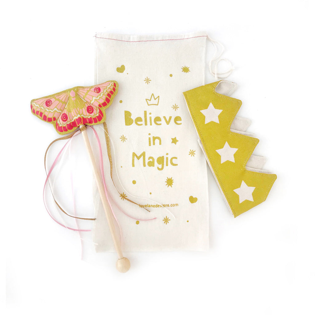 Pink Butterfly Wand + Gold Crown Gift Set