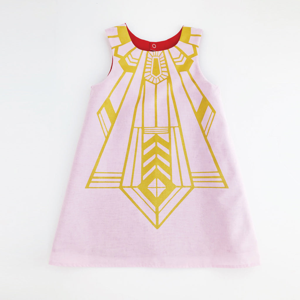 Girls flapper dress in pink and gold with red lining for dress up, playwear by lovelane design