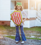 Pink and orange super hero shield costume, with arm straps, for dress up, playwear by lovelane designs