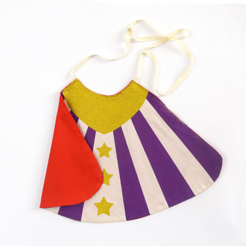 Purple Super hero cape costume set with sidekick cape, doll cape, stripes and stars, for dress up, playwear by lovelane designs