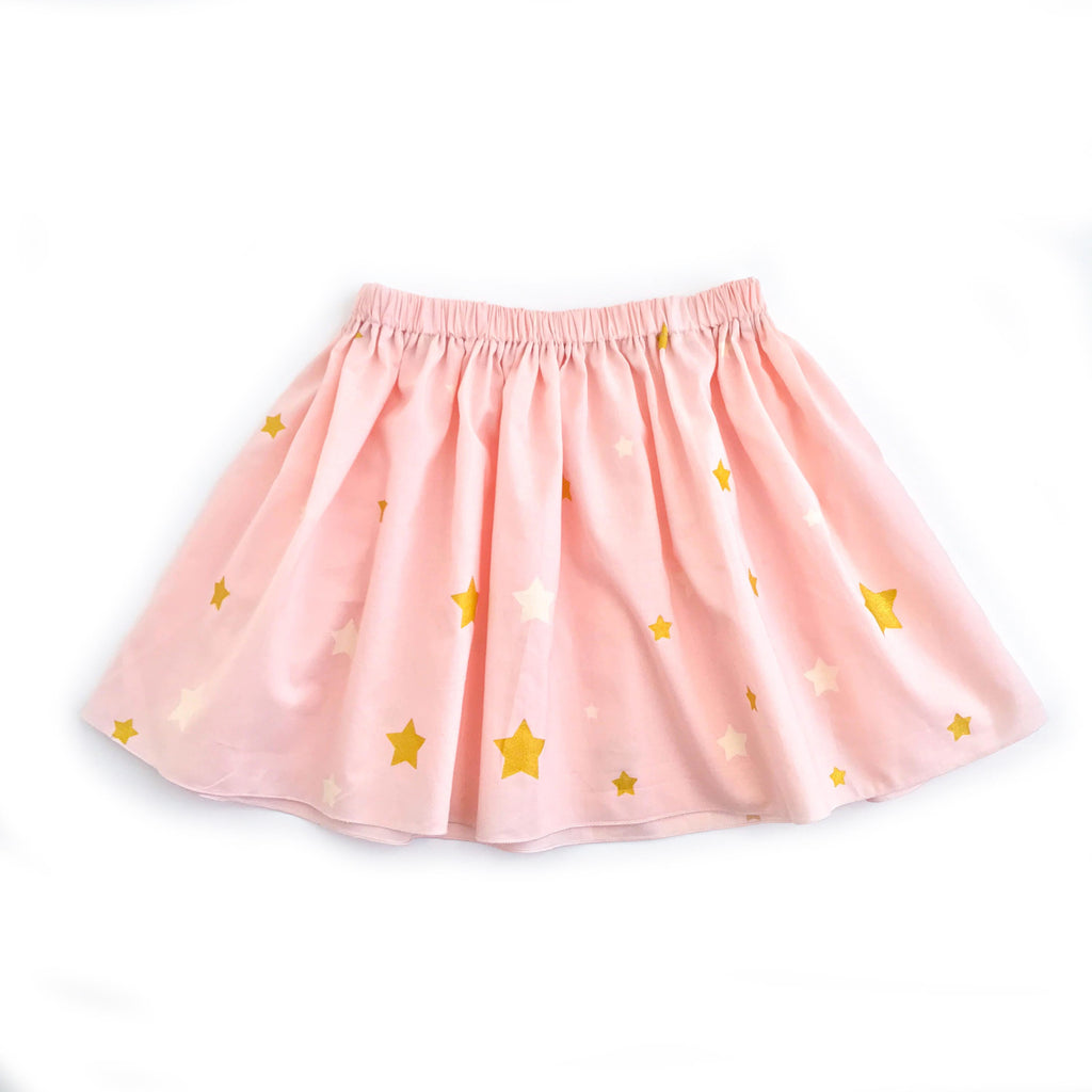 Pink skirt with white and gold stars for butterfly fairytale costume set for child with tiara and wings for dress up, playwear by lovelane design