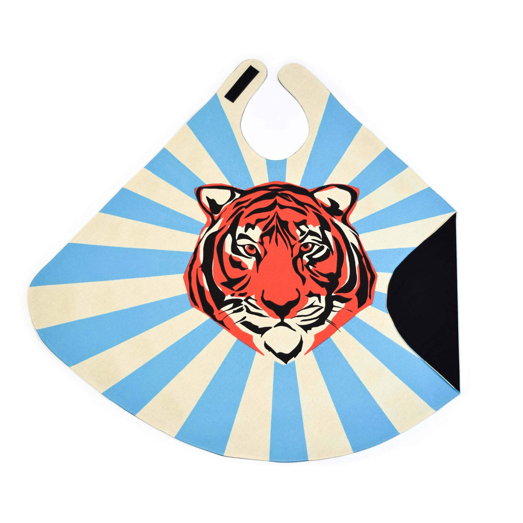 superhero cape orange tiger blue stripes lovelane designs