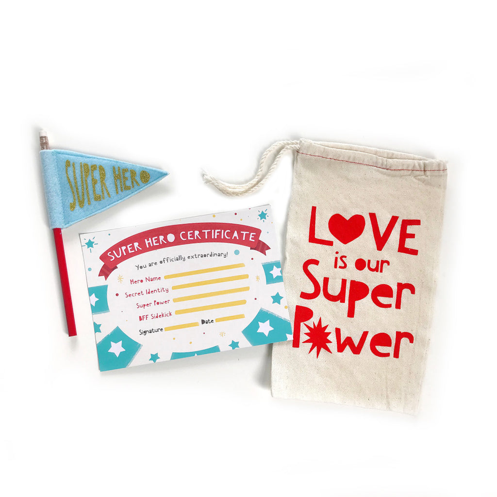 Love Is Your Super Power Valentine Gift Bag: Cotton Bag, Superhero Certificate, Pencil Pennant