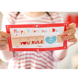 YOU RULE Valentine Cards with Wooden Rulers:  Set of 12