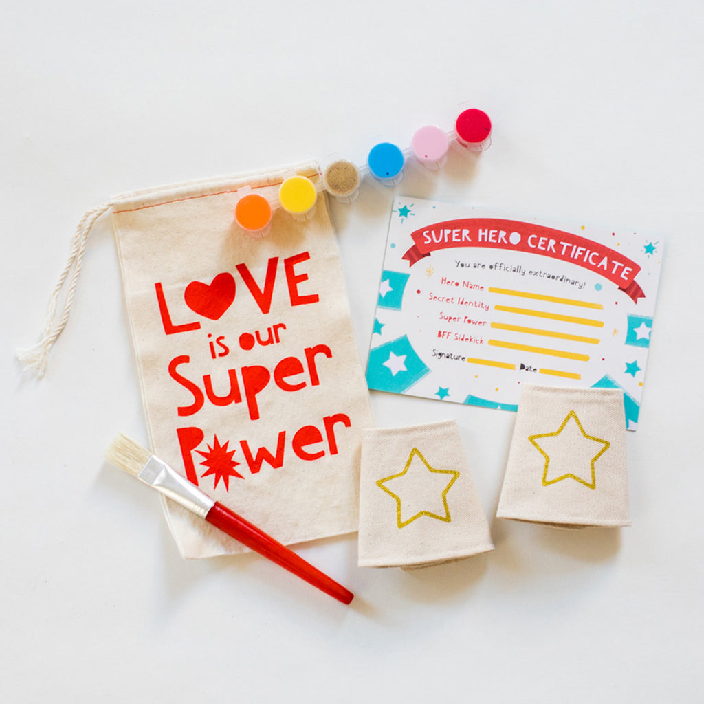 Paint Your Own Super Hero Cuffs, Love Is Our Super Power