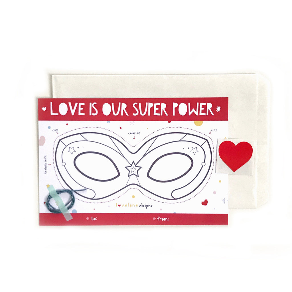 Love Is Our Super Power Valentine Color Your Own Mask with Envelope SET of 6